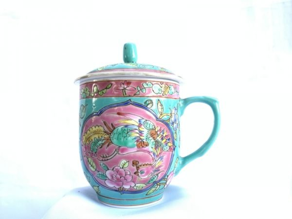 EXTREMELY RARE 130mm OLD NYONYA COVERED TEACUP peranakan utensils Cup Asian Culture
