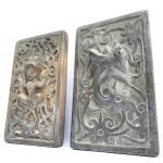 TATTOO INK BLOCK (One Pair xL) Ironwood Tribal Body Piercing Stamp Chop Sculpture Statue Handmade Artwork