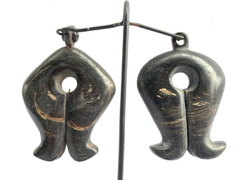 ANTIQUETRIBALEARRING(Pair)NativeSumbaMamuliOldJewelryJewelEarWeightBodyAdornmentArtifact