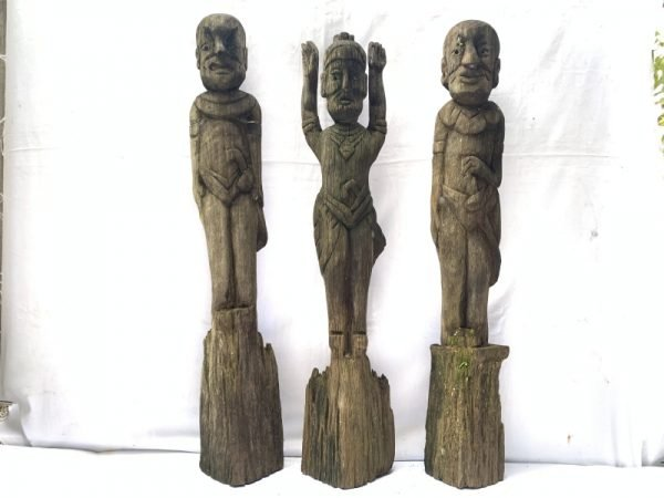 THREE WEATHERED DAYAK GUARDIAN primitive sculpture Antique Artifact Figure Icon