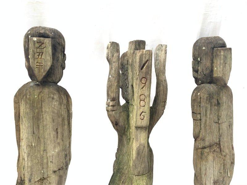 THREE WEATHERED DAYAK GUARDIAN STATUE SCULPTURE Antique Artifact Figure Icon