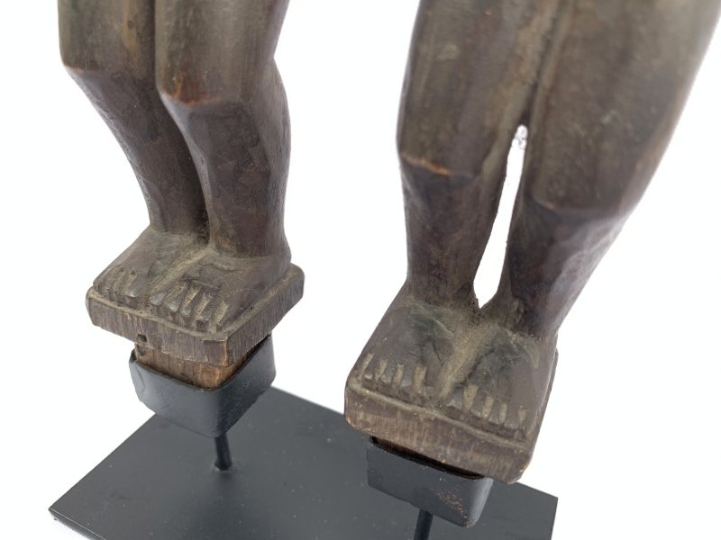 BATAKCOUPLEmmSTATUEARTIFACTAncestralFacialSculptureTribalIndonesia