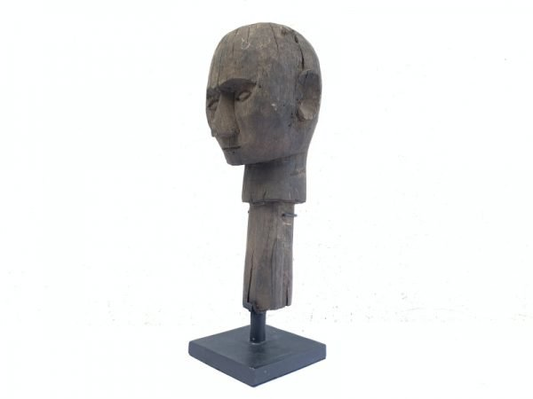 ANTIQUE Timor-Leste 400mm Portuguese HEAD SCULPTURE Tribal Statue Human Figure
