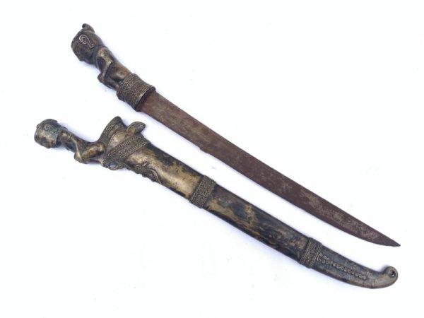 AGED BATAK KNIFE 14.6/370mm BRASS FINISH Figurine Weapon Sword Tribal Dagger