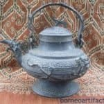 TWO RARE Protuding Naga ~ Antique BRUNEI KETTLE Teapot Metal Casting Artifact