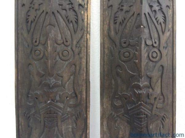 TRIBALPAINTINGxOLDWALLPANELShieldFigureStatueSculptureDayakDyakNativeAsia