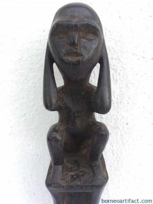 SACREDHUNTINGPOLEmmCarvedWoodStatueFigureFigurineTribalNativeBorneo