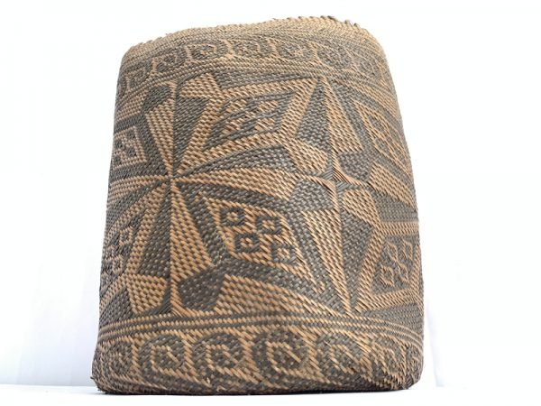 AUTHENTIC OLD BASKET 280mm Traditional Borneo Weaving Woven Fiber Art Rattan Bag #2