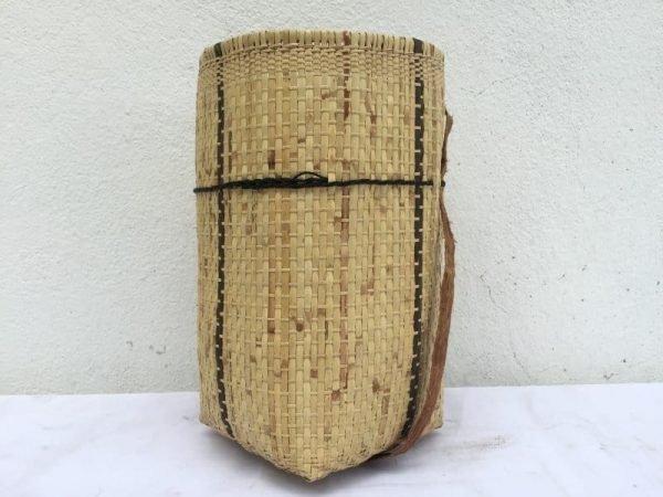 TRAVELASIAmmBASKETRattan&TreebarkTraditionalFiberArtSlingBagBackpackTribalWeaving