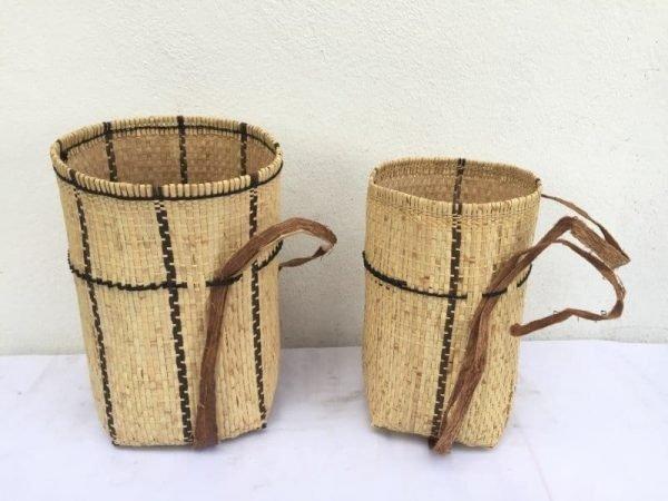 ONEPAIRmmAsianCraftBASKETArtRattan&TreebarkTraditionalFiberArtSlingBagBackpack