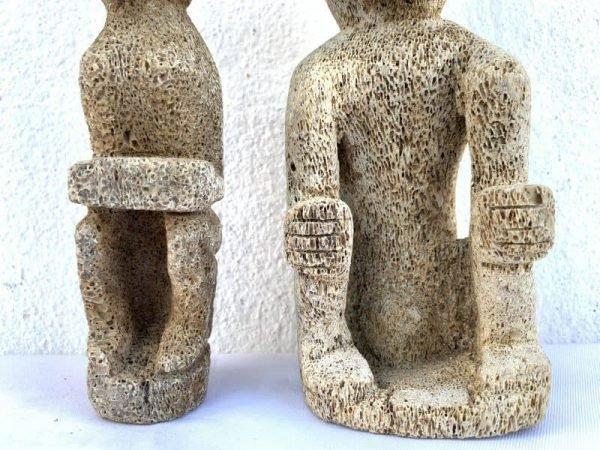 SEADAYAKFIGURE(Pair)CORALSTATUEHampatongFigurineAsiaSculptureBorneo