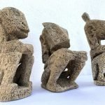 TANIMBAR INDONESIA (Set Of Three) CORAL STATUE Figure Figurine Sculpture Tribal Native Asian Art