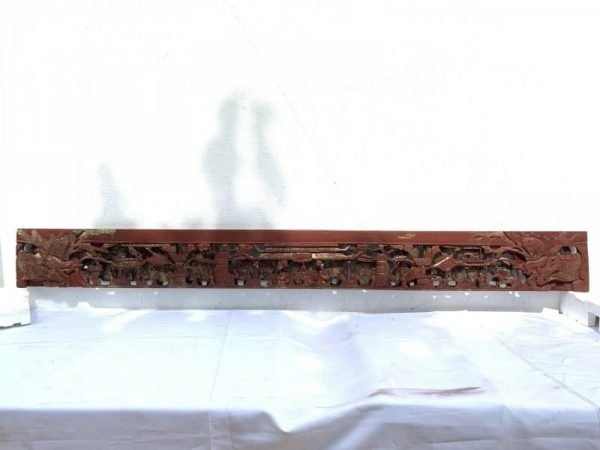 #DEEPMOTIFFAMILLEROSE(Length:mm)ANTIQUECHINESEPANELWoodCarvingAsiaBabaNyonyaArt