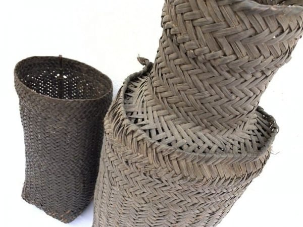 Antique Crab Trap & Basket (590mm & 350mm) Tribal Weaving Fiber Art Borneo Asia