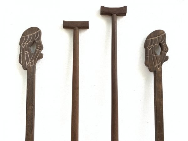 Oar Paddle 1050-1130mm Four Pieces Tribal Regatta Kayak Water Sport Sculpture Wood Carving Asia