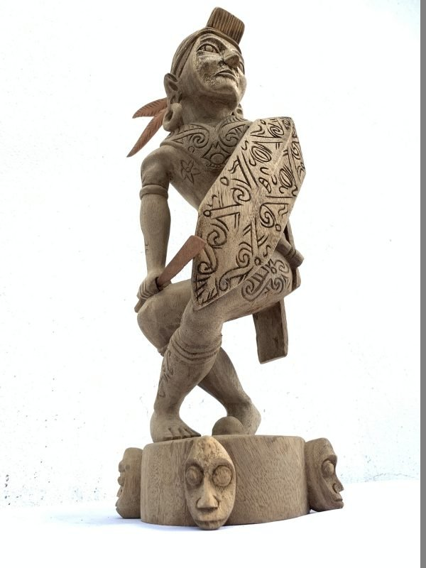 Asian Warrior 440mm Dayak Headhunter Statue Figure Figurine Weapon Shield Tribal Sculpture
