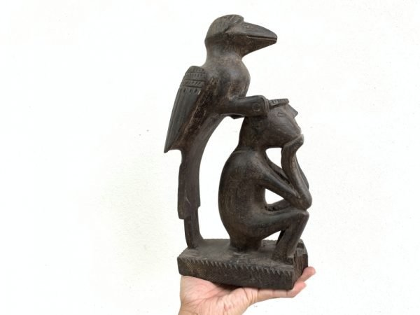 Mythical Bird & Man 350mm Antique Hardwood Statue Figure Figurine Borneo Asia