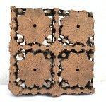 FLOWER 170x170mm BATIK BRASS/COPPER TJAP Old Stamp Chop Block Print Stamp Textile Fabric