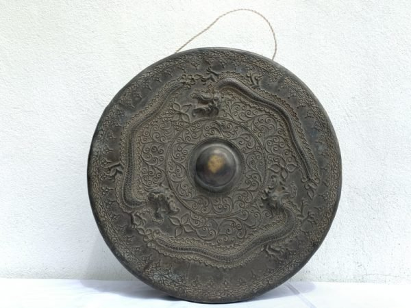EXTREMELY RARE BRUNEI GONG 470mm Three Raised Naga Brass Drum Wealth Status Antique