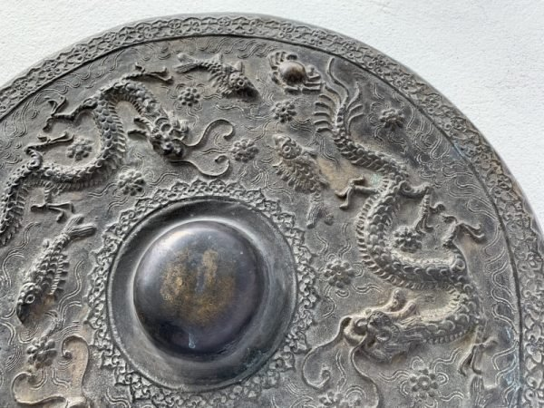 ANTIQUE GONG 480mm BRUNEI MUSEUM PIECE Raised Crocodile & Naga Brass Drum Vintage