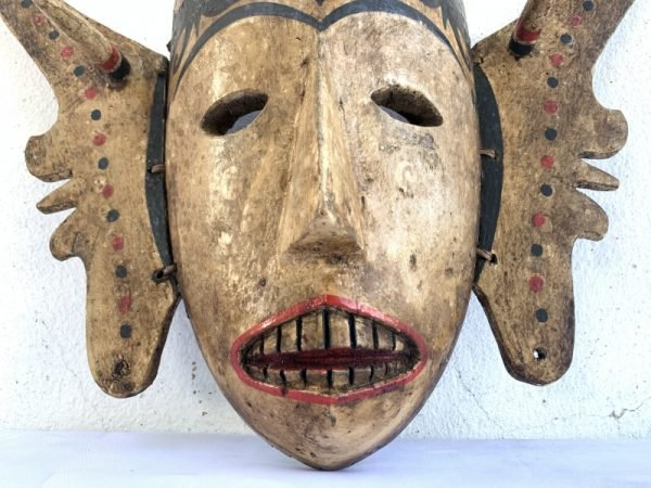 ONE & ONLY 400mm FEMALE WOODEN MASK Vintage Old Dayak Modang Statue Sculpture Wall Deco Asia