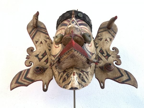GENUINE OLD MASK 490mm Borneo Dancing Hudog Masque Tribal Wooden Artifact Sculpture Asia