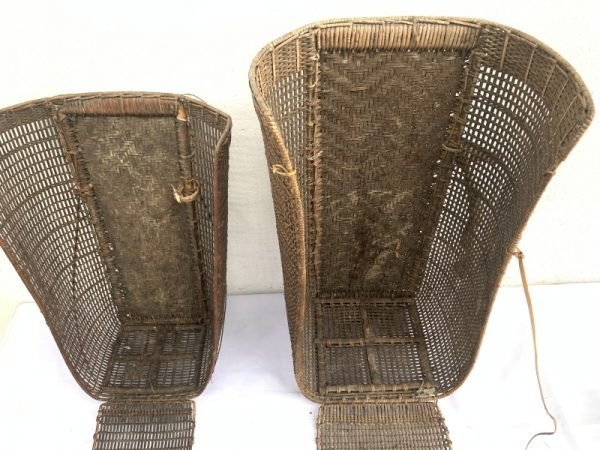 ANTIQUE Farming Basket (One Pair) Old Traditional Rattan Tambok Backpack Weaving Bag Asia