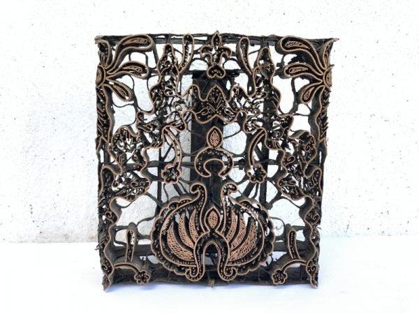 Batik Indonesia 180mm Copper Print Textile Fabric Vintage TJAP Stamp Chop Block