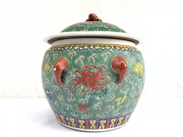 Ceramic Jar 200mm Rare Green Kamcheng Chupu Covered Jar Pot Vase Peranakan Baba Nyonya