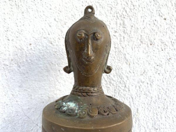 Brass Container 240mm Old Toba Batak Jewelry Medicine Herb Box Chamber Statue Figure Figurine