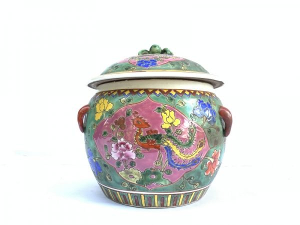 COVERED BOWL 200mm Kamcheng Jar Porcelain Ceramic Peranakan Baba Nyonya Chinese Pot