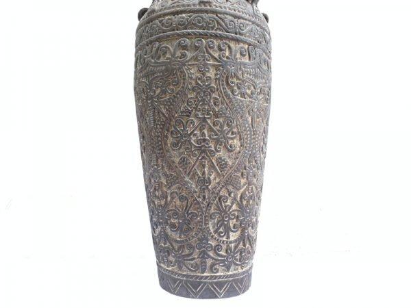 WOODEN JAR 860mm Spectacular Wood Carving Pot Vase Rice Medicine Container Borneo
