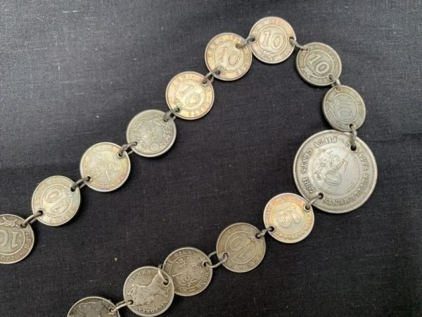 SILVER JEWELRY 1100mm Sterling Silver Belt Antique Coin Currency Rajah Brooke / King Edward / Queen Victoria