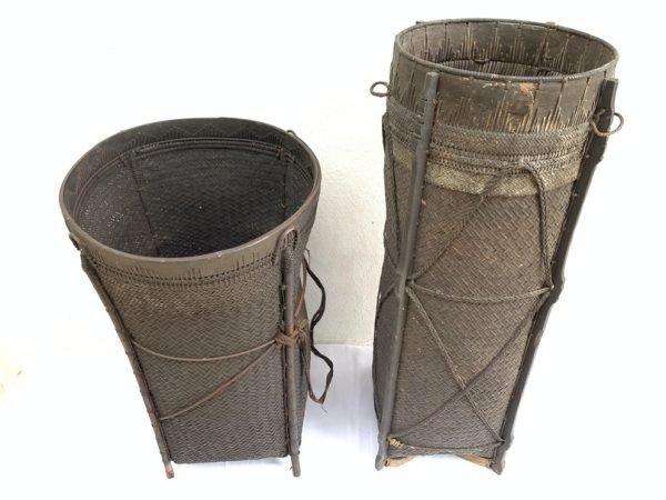RATTAN BASKET (giant size 695 & 915 mm) Tribal Fiber Old Artifact Basketry Borneo Weaving